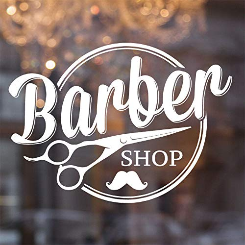 Peluquería tijeras barba calcomanía de pared ventana de corte de pelo vinilo pegatina decoración de habitación móvil mural 30 * 42 cm