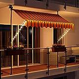 Swing & Harmonie LED - Markise mit Kurbel Klemmmarkise Balkonmarkise mit Beleuchtung und Solarmodul Fallarm Markise Sonnenschutz Terrasse Balkon...
