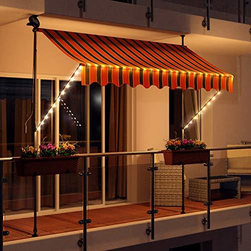 Swing & Harmonie LED - Markise mit Kurbel Klemmmarkise Balkonmarkise mit Beleuchtung und Solarmodul Fallarm Markise Sonnenschutz Terrasse Balkon (200x150, orange/schwarz)