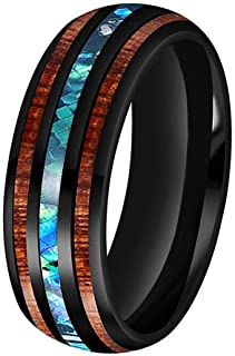 BestTungsten 6mm 8mm Silver/Black/Rose Gold Tungsten Rings for Men Women Wedding Bands Koa Wood Arrow Abalone Shell Inlay Domed Plished Shiny Comfort Fit