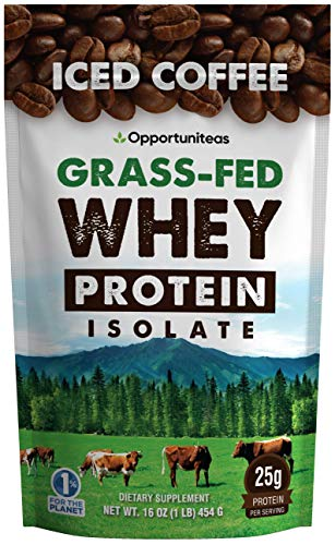 Iced Coffee Protein Powder - Low Carb Drink Mix for Pre/Post Workout Energy - Add to Water, Milk, Latte, Mocha, Shake, Smoothie - Grass Fed Whey Isolate Protein for Paleo & Keto - 80 mg Caffeine