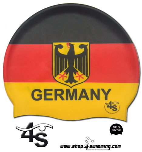Silikon Badekappe Deutschland / Silicone swim cap Germany - mehrfarbiger Druck