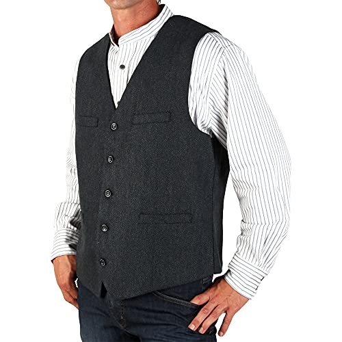 The Celtic Ranch Men's Blended-Wool Irish Tweed Vest with Full Back, Fabric Belt, 4 Pockets, and Herringbone Pattern (Navy, X-Large)