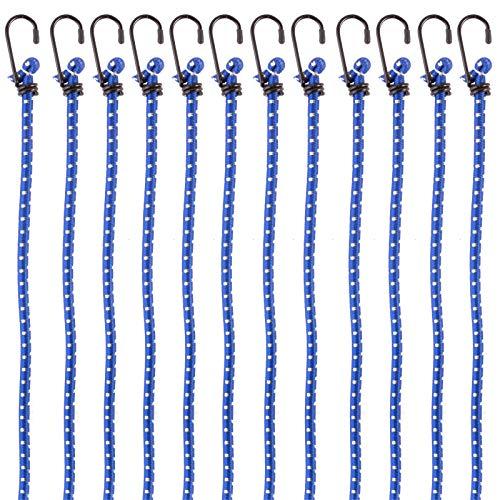PRETEX 12er-Set Universal-Gepäckspanner mit Haken, in 88 cm Länge, blau, extra stark - Spanngurte, Spanngummi, Expander