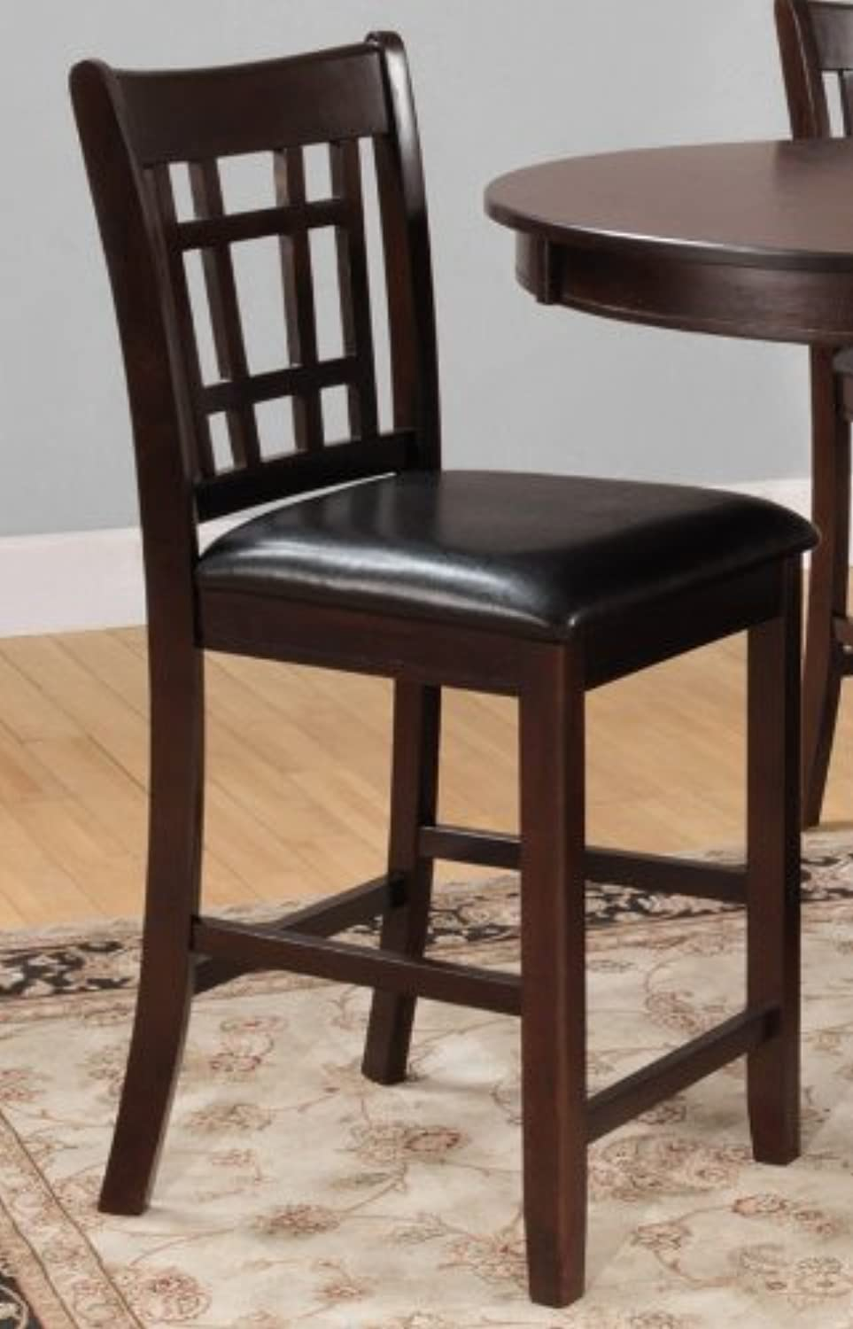 Benzara BM179905 Wooden Counter Height Chair, Set of Two, Brown and Black