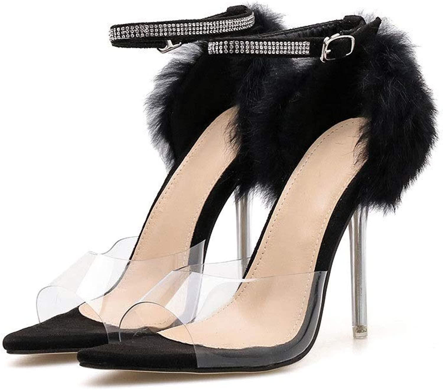 Transparent Stiletto Heels, Rhinestone High Heels with Buckles (color   Black, Size   9 US)