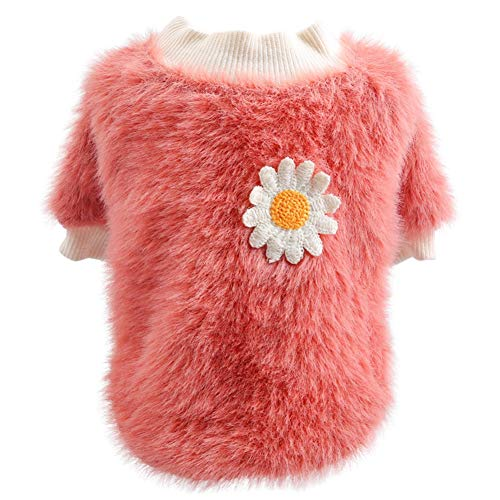 LOYY Pet Dog Clothes Cute Plush Round Neck Warm Winter Flowers Sweater Winter Warm Fleece Pet Coat for Small Dogs French Bulldog Puppy Dog Clothing Chihuahua Custom Clothes