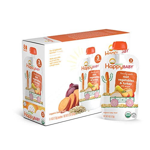Happy Baby Organic Stage 3 Baby Food Hearty Meals Root Vegetables & Turkey w/ Quinoa, 4 Ounce Pouch (Pack of 16) Baby Food Pouches, 2g Fiber, Rich in Vitamin A, Non-GMO Gluten Free No Added Sugars