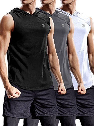 Neleus 3 Pack Workout Athletic Gym Muscle Tank Top with Hoods,5036,Black,Grey,White,US M,EU L