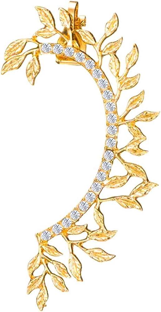 Leaf Climbers Crawler Jewelry Jacket Earrings Cute Crystals Alloy Left Ear Cuff Wrap Clip Golden Stud Earring Climber Top Ear Clip for Women Girls 1 PC