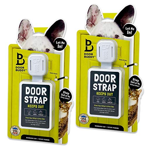 Door Buddy Adjustable Door Latch (Grey 2 Pack). Simpler Way to Dog Proof Litter Box. No More Pet Gates or Cat Doors. Convenient Cat and Adult Entry. Stop Dog Eating Cat Poop Today