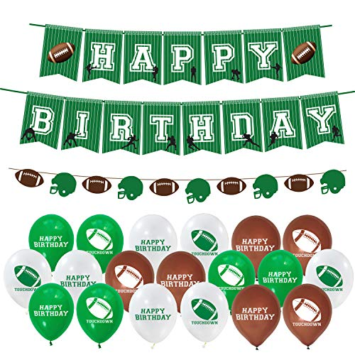 Football Theme Birthday Party Decorations, Happy Birthday Banner Football Garland with 24 Pcs Latex Balloons for Kids Boy Girl Birthday Party Supplies