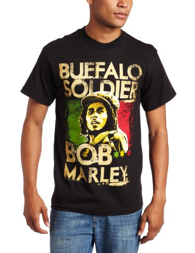 Zion Rootswear Men's Marley Buffalo Soldier T-Shirt, Black, Large