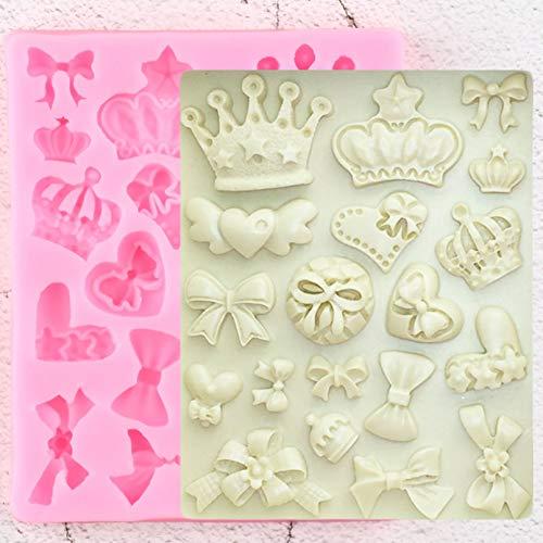 YTYASO Moldes de Silicona para Pajarita con Corona de Dibujos Animados, decoración para Cupcakes de Boda DIY, Herramientas de decoración de tortas con Fondant, moldes de Chocolate y Caramelo