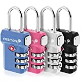 Fosmon Indicador de alerta abierta Aprobado por TSA Cerradura de equipaje de combinación de 3 dígitos - Negro, azul, rosa y plata - Paquete de 4