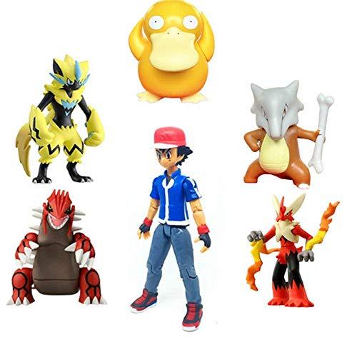 WUTONG 5 stücke Pokemones Action Figure Spielzeug Sammlung Anime Figure Asche Ketchum Zeraora Blaziken Psyduck Lugia Cubone Kinder Geschenke Pokemon Kuscheltier