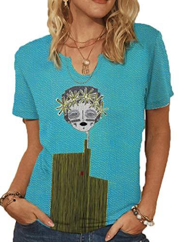 SLYZ Camisetas De Verano para Mujer Europeas Y Americanas De Talla Grande con Cuello En V Y Estampado De Moda para Mujer