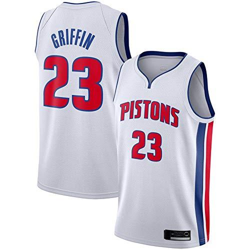 YDYL-LI Jersey De Baloncesto para Hombre, NBA-Detroit Pistons- Blake Griffin # 23, Chaleco Sin Mangas Jersey De Baloncesto Cómodo/Ligero/Transpirable Uniforme,Blanco,L(175~180CM)