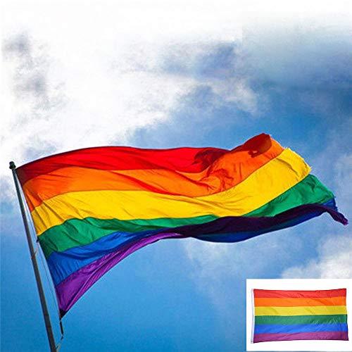 VAVAMAX 3x5ft Bandera del Arco Iris Bandera de poliéster Orgullo Gay Paz lésbica LGBT con Ojales