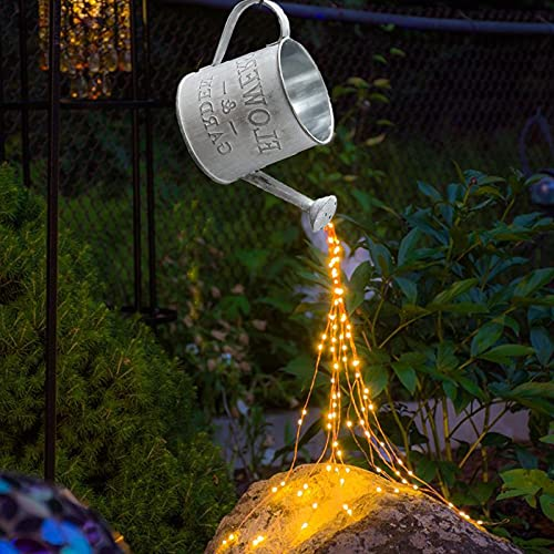 Watering Can Lights Outdoor Star Shower Garden Art Lights, Watering Can Garden Outdoor Fairy Lights Battery Operated Waterproof, LED String Lights Fairy Garden Ornaments Decoration Patio (No Kettle)