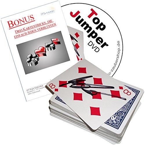Kartentricks für Erwachsene TOP JUMPER + deutschsprachige DVD + 3 weitere verlüffende Kartentricks, Zauberkarten Set mit Ambitious Card Routine, Sandwich-Effekt, Card in Wallet, Öl und Wasser