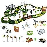 Dinosaurier Spielzeug Autorennbahn Cars Spielzeug ab 3 4 5 6 Jahre Junge Mädchen, 213 Stück Flexibel Tracks Jurassic World Spielzeug Kinder Auto Dino...