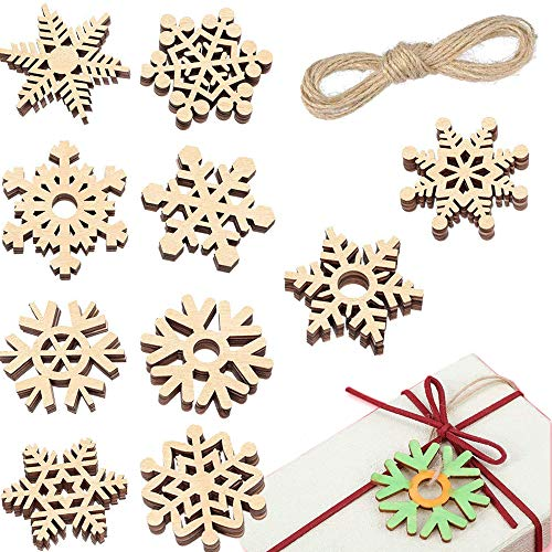 T-Antrix 50pcs DIY Wooden Snowflakes Unfinished Wood Ornaments Cutouts Christmas Wood Snowflake for Christmas Decoration Christmas Tree Hanging Embellishments and Craft DIY with Strings