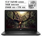 Dell Inspiron 17 Laptop, 17.3' Full HD Screen, 10th Gen Intel Core i7-1065G7 Quad-Core Processor up to 3.90GHz, MX230 Graphics, 16GB RAM, 256GB SSD + 1TB HDD, DVD, Wireless-AC, Windows 10 Home, Black