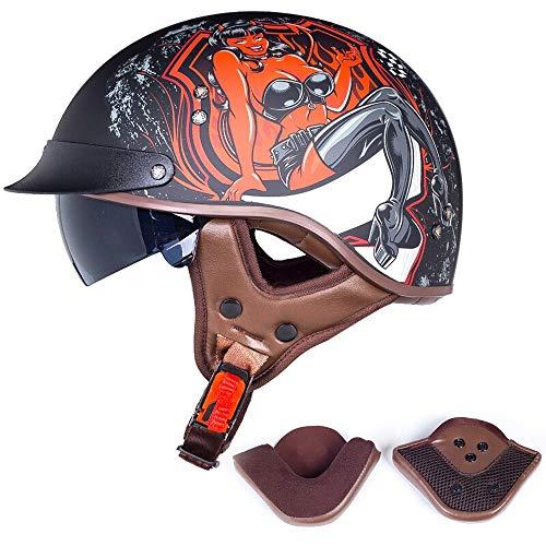 Travel Pillows Halbhelm Retro Harley Motorradhelm Eingebaute Schutzbrille Mit GehöRschutz DOT/ECE-Zertifizierter Cruiser Chopper Skateboard Fahrradhelm