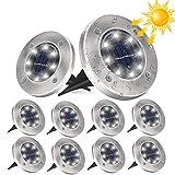10 Stücke Solar Bodenleuchten Aussen, DUTISON Solarleuchten Garten mit 8 LEDs für Außen, 6000K Weiß IP65 Wasserdicht Led Solar Gartenleuchten, Solarlampen für Rasen Auffahrt Gehweg Patio Garden
