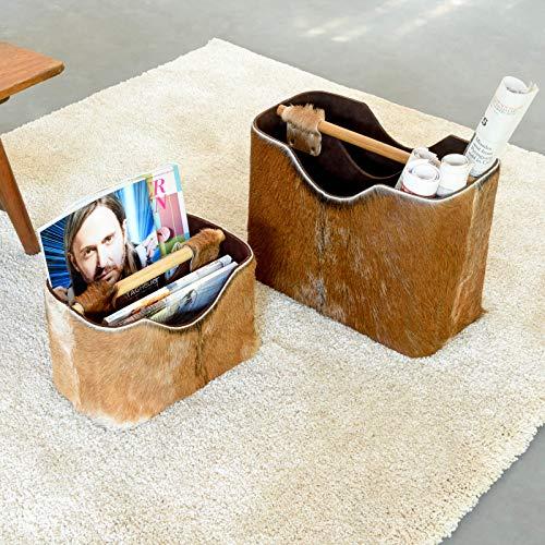 wohnfreuden Zeitungshalter Gross Ziegenfell Zeitschriftenständer Gr L 40x30x20 cm