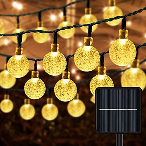 Guirnaldas Luces Exterior Solar -  11M 60LED Cadena de Bola Cristal Luz IP65 Impermeable 8 Mode Guirnaldas Luz Solares Decoracion para Navidad Hogar Jardín Arboles Terraza Patio Bodas