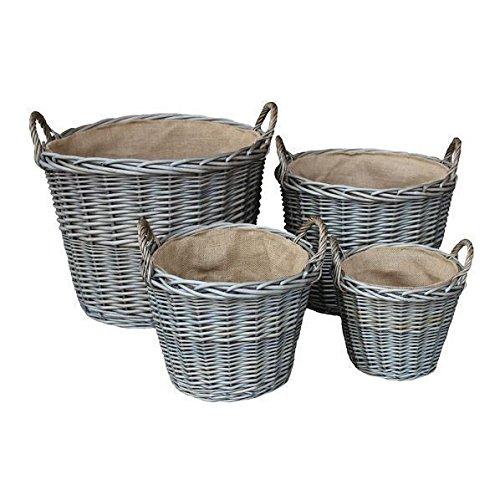 Set van 4 Antique Wash Finish Rieten gevoerd Inloggen manden