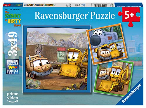 Ravensburger The Stinky and Dirty Show 3 x 49 Piece Jigsaw Puzzle for Kids - Every Piece is Unique, Pieces Fit Together Perfectly