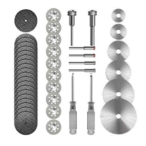 Cutting Wheel Set 36pcs for Rotary Tool, HSS Circular Saw Blades 6pcs, Resin Cutting Discs 20pcs, 545 Diamond Cutting Wheels 10psc with 2 Screwdrivers
