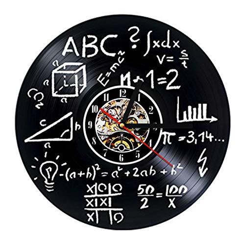TANCEQI Reloj de Pared de Vinilo Placa Reloj Upcycling 3D Matemáticas Ciencias Diseño de Reloj de Pared de decoración Vintage de Reloj de Pared Decoración,A