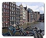 Mauspad Amsterdam Fahrräder Kanal Niederlande Europa Fahrrad Mausunterlage Anti Rutsch Gummiunterseite Verbessert Präzision Gaming Mousepad Ultradünner Gaming Mausmatte Für Laptop/Pc, 25X30 Cm