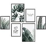 Heimlich Cuadros Decorativos - Decoración Colgante para Paredes de Sala, Dormitorios y Cocina - Arte Mural - 2 x A3 (30x42cm) et 4 x A4 (21x30cm) | Sin Marcos » Les Palmiers & Monstera «