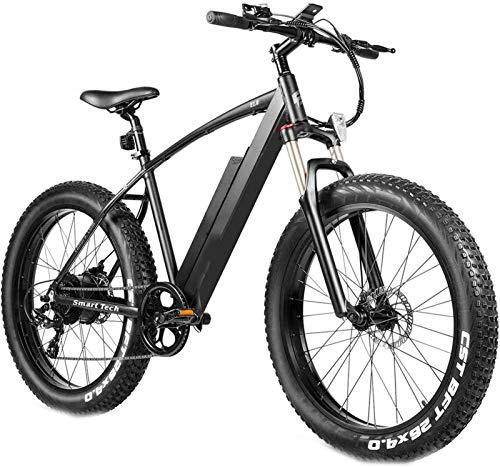 Bici electrica, 4.0 Fat Tire bicicleta eléctrica de 26 pulgadas Bicicletas 48V 500W nieve de la montaña Eléctrica en adultos Suspensión Amortiguador Tenedor de rebote Bloqueo de 7 velocidades cambios