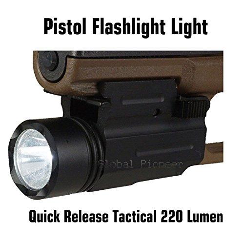 GlobalPioneer Quick Release Tactical 220 Lumen Led Powered Pistol Flashlight Light