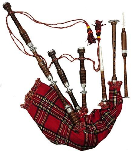 Grande cornemuse écossaise en palissandre.Taille complète. Embouts en argent