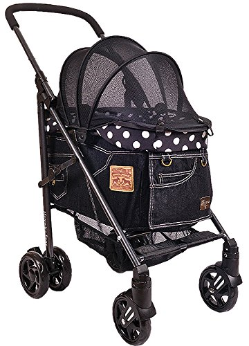 [マザーカート] Mother Cart ラプレ Lサイズ NEWブラックデニム(ホワイトステッチ) ペットカート ペットキャリー 多頭飼い 旅行 介護 お出かけ 最軽量