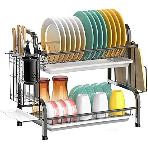 Escurreplatos de 2 niveles, acero inoxidable 304, con soporte para cubiertos y bandeja de goteo, para platos y platos, color negro
