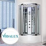 Vidalux Miami 900 x 900 Luxury Steam Shower Thermostatic Bluetooth - Mirror Glass