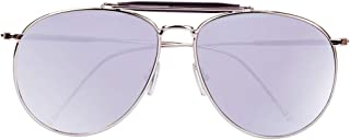 QH Retro Big Face Polarized Metal Pilot Male Lady Round Face Driving Sunglasses, Outdoor (Color : Silver)
