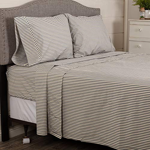 VHC Brands Classic Ticking Stripe Denim Farmhouse, Americana Decor 100% Cotton Country Vintage Style Bedding 4PC Sheet Set- Fitted, Flat, Pillow Case, King