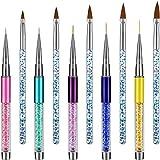 10 Pieces 3D Nail Art Brushes Set Nail Liner Ombre Brush Nail Painting Design Pen Brushes Acrylic Rhinestone Handles Nail Art Pens