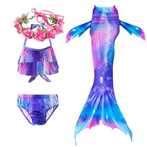 PaisDola Ragazze Coda da Sirena per Nuotare Bambina Costume da Bagno Incluso 3Pcs Bikini e Fiore Garland Archetto (DH96RH,130)