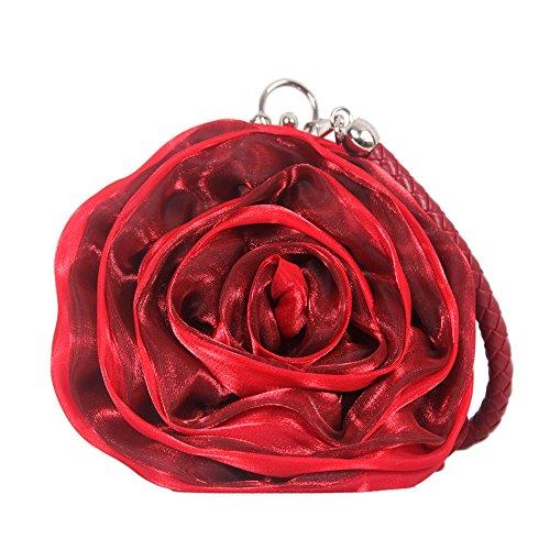 UK_Stone Damen Blumen Form Clutch Party Handtasche Abendtasche Handgelenk Tasche, Rot mit Weinrot