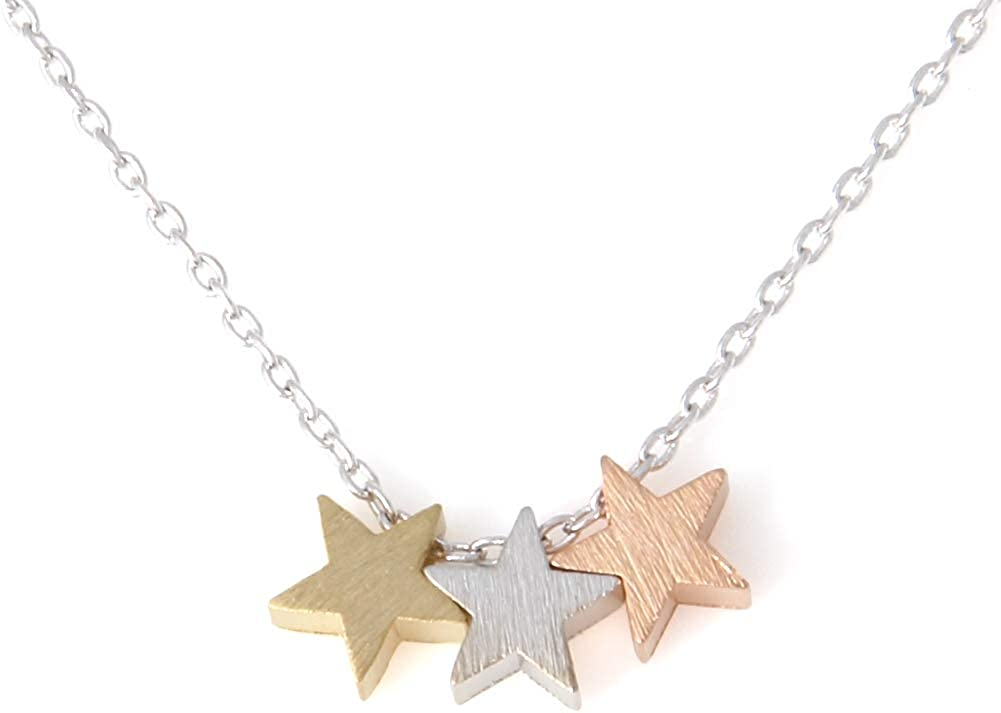 LAONATO Financial sales famous sale 3 Mixed Color Stars inches Plated 17.5 Necklace Brass